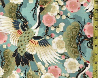 Quilt Gate - Japanese Asian Sewing Quilting Fabric - Celebration - Soaring Cranes, Pines & Plum Blossoms - Teal