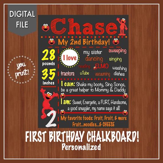 Elmo 2nd Birthday Party Elmo Birthday Chalkboard Any Age
