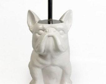 Decorative object French Bulldog! Toilet brush, ceramic, Height 9,4 inches / 25 cm