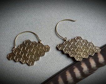 brass earrings *cubes small*