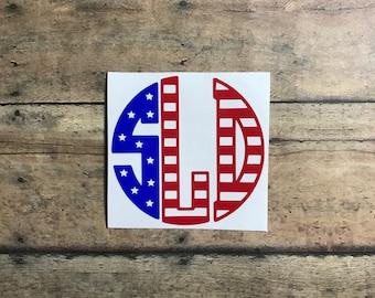 america monogram /  fourth of july /4th /america / patriotic / tumbler decal / tumbler / stars and stripes / monogram / flag / american flag