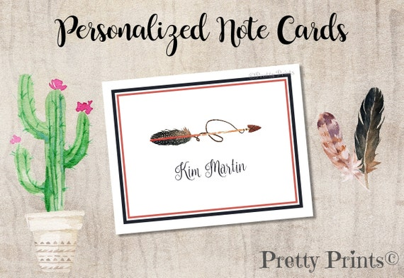 Boho Note Cards - Personalized - Note Cards - Arrow Note Cards, Wedding, Notecards, Custom Note Cards, Thank You Notes - Initial