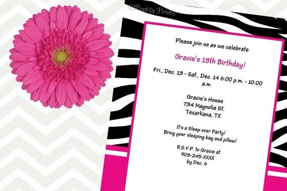 Zebra Print Invitations - Birthday Invitations - Zebra Print - Hot Pink - Party Invitations - Invitations - Digital Invitation, Printable