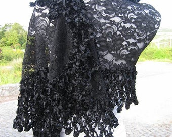 Wedding Shawl, Black sheer Scarf, French lace wrap shawl scarf, church scarf, evening gown shawl, handmade crochet lace scarf, black wedding