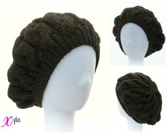 Brown Cable Knitted Beret Womens Slouchy Hat Adult Size Hand Knitted Hat Chunky Knit Hat Alpaca Wool Acrylic