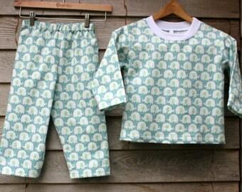 Elephant Flannel Pajama set,  Handmade Kids Pajamas, Sleepwear, Size 2