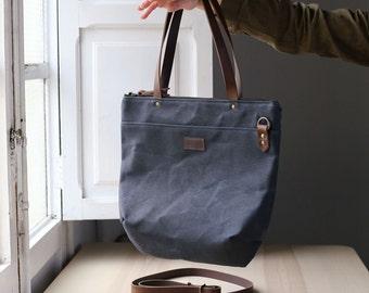 Waxed canvas bag ANNA blue navy