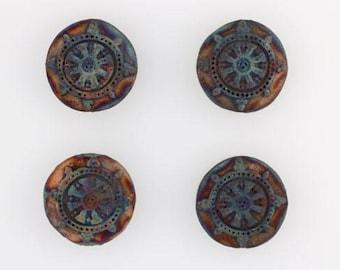 Multicolored Matte Raku Ceramic Dharma Wheel Beads, Lot of 4
