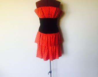 Vintage 80s Red Polka Strapless Dress Ruffles XS S 4 5