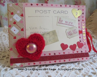 "Paper small tag/photo album with 10 pockets, 4"" x 6"", ""Kiss Kiss"", Valentine's Day, red, pink, glitter, instagrams, for photo/journaling."