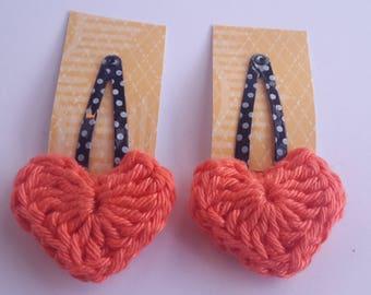 Crochet heart hair clip, girls hair clip