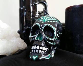 Hand painted dia de los muertos/day of the dead candle