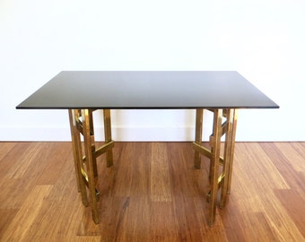 Vintage Brass Side or Coffee Table, Glass Brass Cage Lattice Base, Hollywood Regency Glam Table, Modern, Mid Century