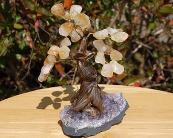 Citrine and Amethyst Crystal Gem Tree