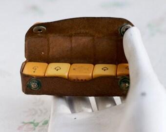 Vintage Poker Dice on Leather Case - Gambling Box Set