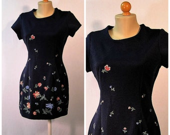 Vintage Navy Floral Mini Dress Small