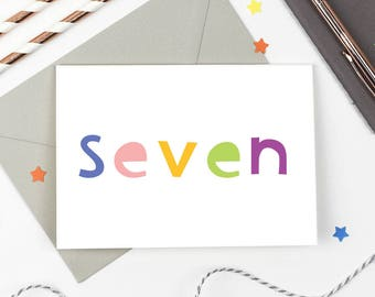 7th Birthday Card - Number Card - Seventh Birthday Card - Birthday Card
