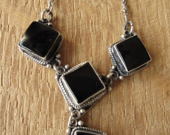 "Sterling Silver Braided Black Onyx Squares Panels Necklace 17.5"" (1253)"