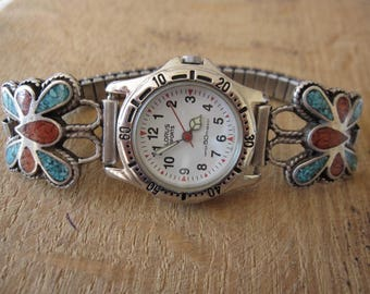 Sterling Silver Native American Turquoise Coral Butterfly Watch Tips Lorus Watch Face ( length optional 1946)