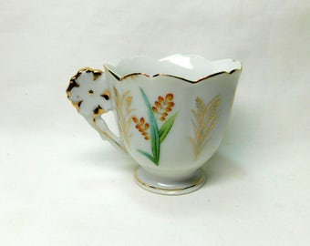 Vintage Occupied Japan Ucagco Tulip Flower Shaped Demitasse Tea Cup Gold Trim Footed White Porcelain White Flower Handle Hand Painted Teacup