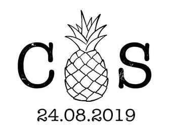 Pineapple Initials and Date stamp, personalised stamp, wedding card, favours, gift tags stamp, tropical wedding stationery, (cts183)