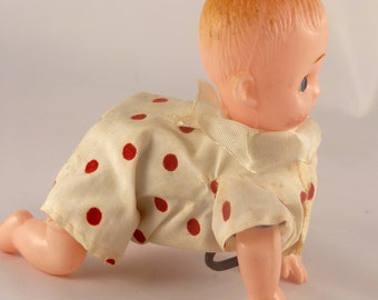 Vintage Wind Up Crawling Baby,Antique Baby Toy/Wind Up Toys/Crawling Baby
