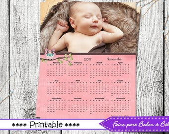 Digital printable - Personalized Owl calendar-  8x10 - Owl calendar