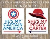 Captain America & Peggy Carter Typography Digital Print