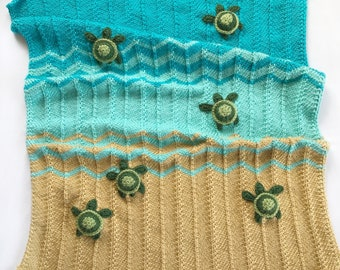Knit turtle blanket- Crochet turtle blanket, Sea turtle blanket, Ocean blanket, Ocean nursery, Turtle Lovey, Lovey blanket, lovie blanket