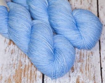 Hand Dyed KM Fingering Sock Yarn Superwash Merino Wool Nylon in Soft  Light Blue