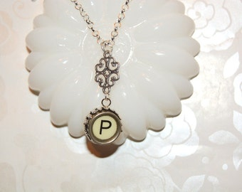 Typewriter Key Initial Necklace, Personalized with a Letter P Initial, Typography Jewelry, Gift for Her.
