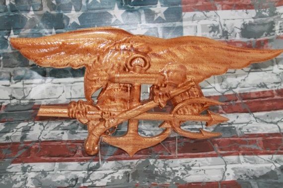 Navy Seal Trident, USN,  Trident, SEAL Trident,Special Forces, Navy Seal, Navy Chief, SEAL , carved wood sign, Woodworking military, carving