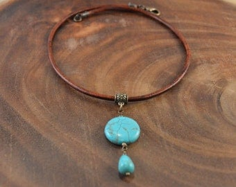 Bohemian Jewelry, Leather Necklace, Turquoise Pendant, Boho Necklace, Leather Pendant Necklace, Leather Choker, Turquoise Magnesite