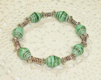 Paper Bead Bracelet Jewelry Green