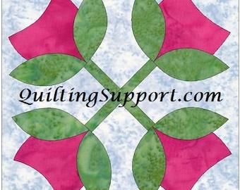 Tulip Tree Leaves Quilting Applique Pattern Design