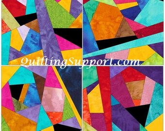 Complex Crazy Patch Set 5 Paper Foundation Piecing Quilting 4 Block Patterns PDF