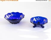 SALE Set of 2 Cobalt Blue Glass Bowls Hand Painted Antique Swedish Glass Traditional Scandinavian Floral Decor Footed Bowl Serving Dish