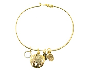 Gold Sand Dollar Bracelet with Swarovski Crystal