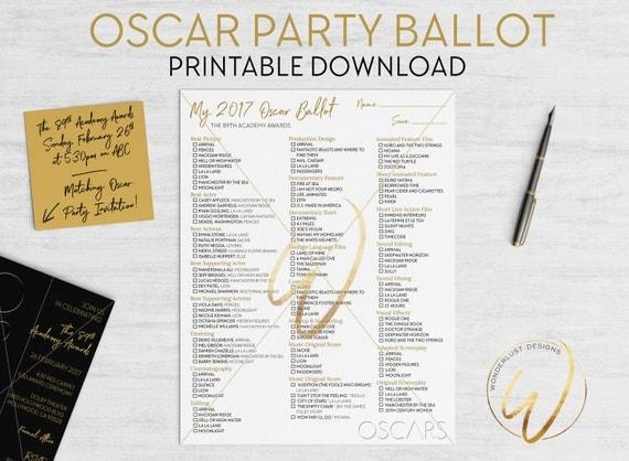 2017 oscar ballot the academy awards party by - Academy awards 2017 download ...