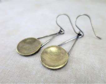 Brass Earrings ~ Dangle Earrings ~ Mixed Metal Earrings ~ Geometric Earrings ~ Drop Earrings ~ Lightweight Earrings ~ Minimalist Earrings