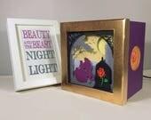 Beauty and the Beast night light, home decor, baby shower, baby birthday, nursery decor, Enchanted Rose decor, Belle home decor