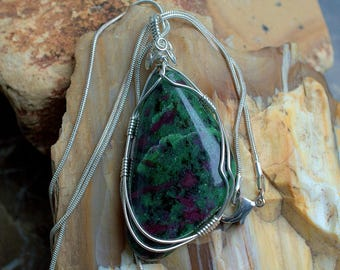 Green gemstone Ruby in Zoisite Anyolite pendant silver wire wrapped with necklace,