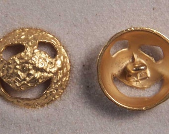 "Set of 6 JHB Intl Gold Round Metal Buttons Funky Smiley Face 7/8"" or 23 mm lyk0070"