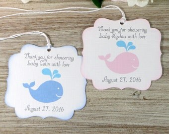 Whale baby shower favor tags, Nautical baby shower thank you tags, Girl baby shower gift tag, Boy baby shower favor tags, Ahoy It's a boy