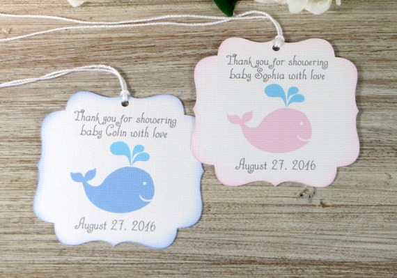 Whale baby shower favor tags nautical baby shower thank you tags il570xn negle Gallery