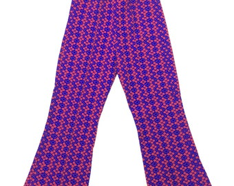 Vintage deadstock geometric print red blue flared stretch trousers flares 5-6 60s