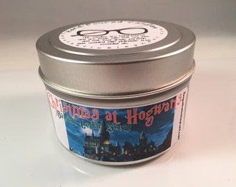 Christmas at Hogwarts Candle - HP Candle -  Potter Candle - 4 oz Tin Candle - Fandom Candle - Geek Candle - Balsam Cedar Scent