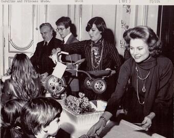 Vintage Wire photograph Grace Kelly (Princess Grace, Monaco) Prince Rainier - Monaco, dated: 12/24/75