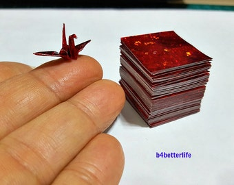 """300 Sheets Red Color 1-inch Origami Crane Paper Folding Kit. 1"""" x 1"""". (4D Glittering paper series). #CRK-84."""