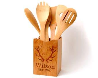 Bamboo Kitchen Utensil Holder - Custom Antler Design - Rustic Wedding Gift - Engraved Antlers